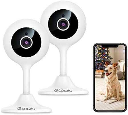 Security Camera Indoor, Goowls 2-Pack 1080p HD 2.4GHz WiFi Plug-in IP Camera for Home Security, Baby/Dog/Pet/Nanny Camera Monitor with Motion Detection Night Vision Two-Way Audio, Works with Alexa