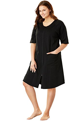 Dreams & Co. Women's Plus Size Short French Terry Robe Black,L