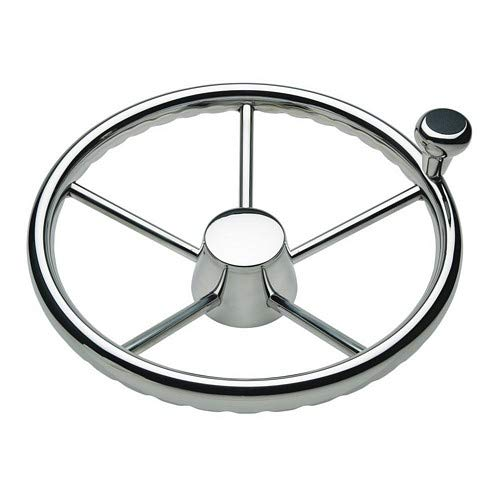 "Schmitt 170 13.5"" Stainless 5-Spoke Destroyer Wheel W/Stainless Cap And Fingergrip Rim - Fits 3/4"" Tapered Shaft Helm"