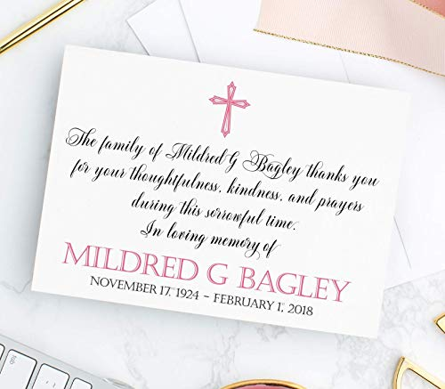 - Personalized Cross Sympathy Acknowledgement Cards, Funeral Thank You Cards, Choose Colors & Set Size