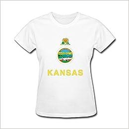 photo relating to Printable Shirts named Adanight Womens Kansas Printable Flag T shirts Dimension XL