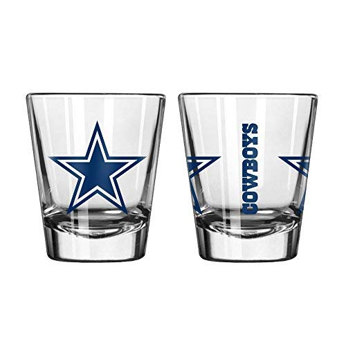 (Official Fan Shop Authentic NFL Logo 2 oz Shot Glasses 2-Pack Bundle. Show Team Pride at home, your Bar or at the Tailgate. Gameday Shot Glasses for a goodnight (Dallas)