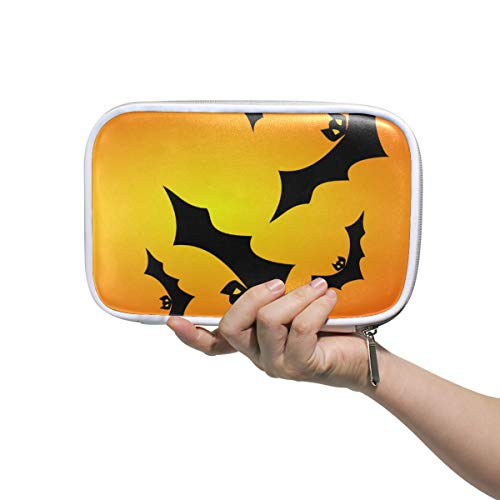 Pencil Case Big Capacity Pen Bag Halloween Happy Bats Makeup Pouch Durable Stationery for Students]()