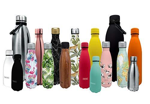 NERTHUS FIH 601 Termo Doble Pared para frios y Calientes Diseno Margaritas de Acero Inoxidable 500 ml Libre de BPA, Tapon Hermetico, 18/8