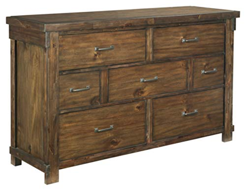 (Ashley Furniture Signature Design - Lakeleigh Dresser - Casual - 7 Drawers - Rustic Brown Finish - Dark Zinc)