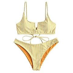 Product Details: Style: Fashion Swimwear Type: Bikini Bikini Type: Reversible Bikini Bra Style: Padded Support Type: Wire Free Neckline: Spaghetti Straps Embellishment: Cut Out,Ruffles Pattern Type: Striped Embellishment: Lace up Waist: Natur...