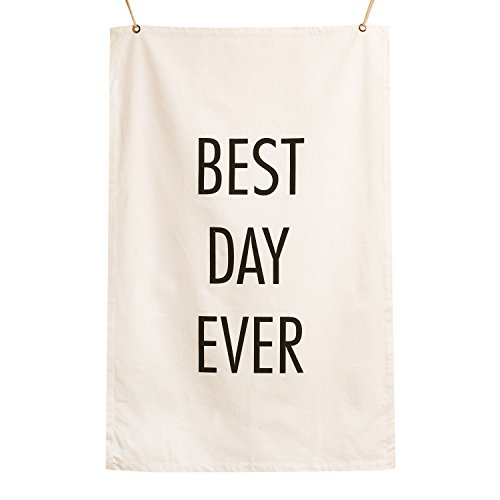 Ling's moment Best Day Ever Wall Banner Wedding Banner Hanging Flag Pennant Anniversary Gift Canvas Banner Quote Banner Bridal Shower Gift Felt Letter