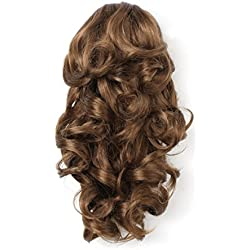 "Onedor 12"" Synthetic Fiber Natural Textured Curly Ponytail Clip In/On Hair Extension Hairpiece (12# - Light Brown)"