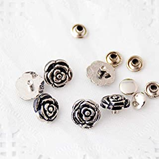 Kamas -30 Sets Silver Tone Flower Spike Rivets Studs Spots 13mmx12mm 8mmx4mm Bag Leather Clothes J3041