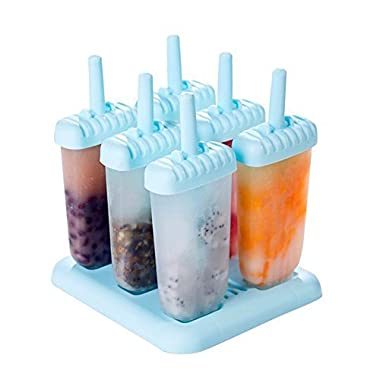 Chichic Set of 6 Popsicle Ice Pop Molds (Oval, Sky Blue)