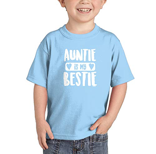 HAASE UNLIMITED Auntie is My Bestie - Favorite Aunt Infant/Toddler Cotton Jersey T-Shirt (Light Blue, 24 Months) ()