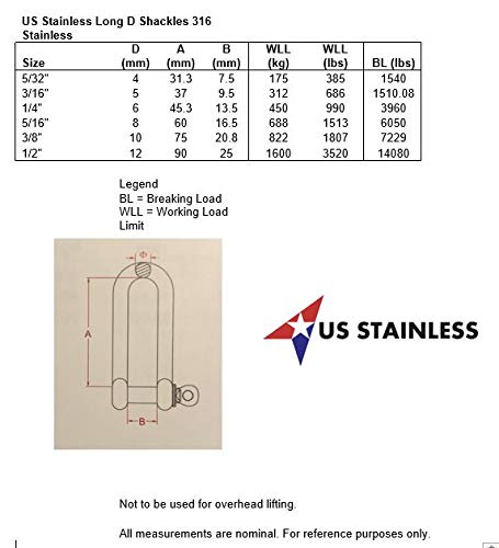 Marine Grade US Stainless 10mm Stainless Steel 316 Long D Shackle 3//8