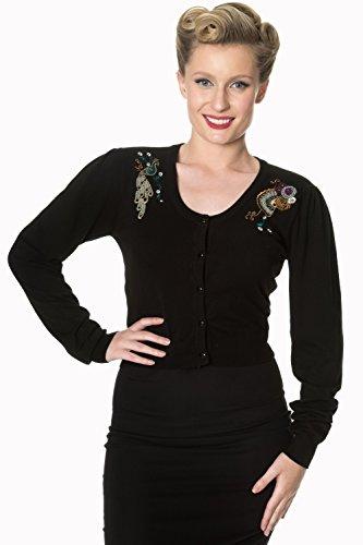 Banned Proud Peacock Blue Cardigan - Pull Bouton Femme A Motifs (Bleu Marine)