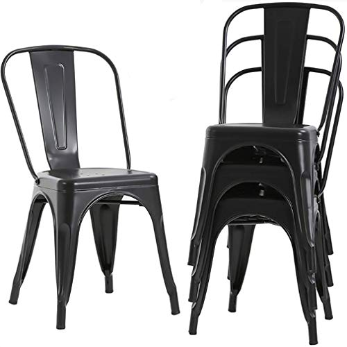 (Waleaf Metal Dining Stackable Chairs Indoor/Outdoor Use Modern Style Restaurant Cafe Chic Bistro Bar Side Chair. Set of 4 (Black))