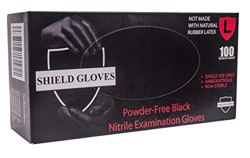 (100 Pack Black Barrier Nitrile Examination Gloves. Large sized Chemical Resistant Powder Free Gloves. Disposable Finger Textured Latex Free Gloves for Medical use, Cleaning. Wholesale price.)