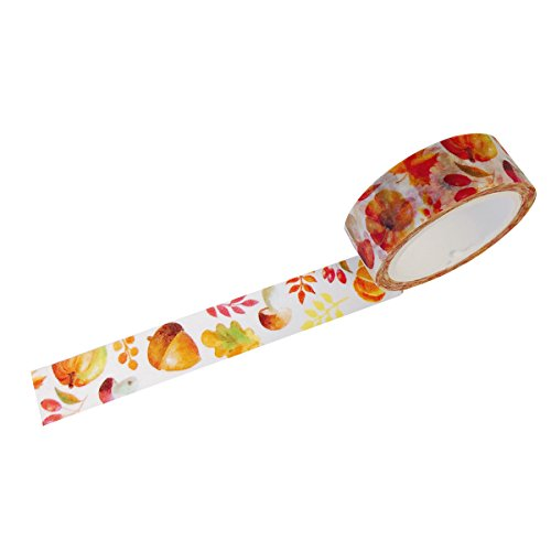 Wrapables Flowers and Greens Washi Masking Tape, 15mm x 7m Autumn Leaves
