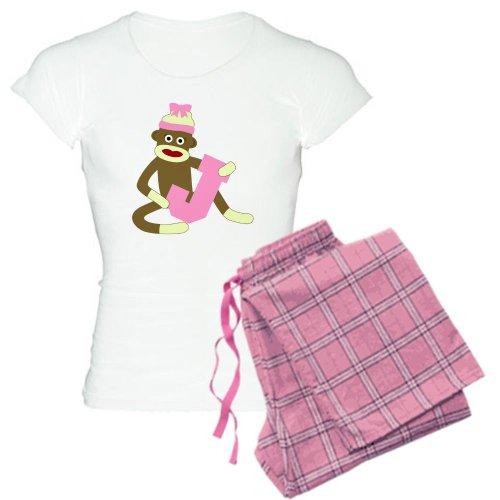 CafePress Women's Light Pajamas - Sock Monkey Monogram Girl J Women's Light Pajamas - S With Pink Pant