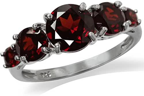 2.87ct. 5-Stone Natural Garnet White Gold Plated 925 Sterling Silver Ring