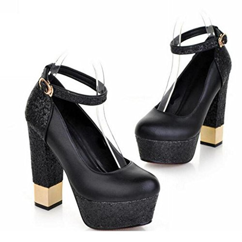 W&LM Ms High heels Single shoes leather Waterproof platform crude Shallow mouth buckle Low help Single shoes Black