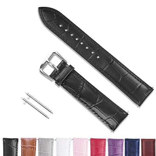 22mm Watch Bands Leather, Vetoo Quick Release Classic Genuine Leather Replacement Watch Strap Wristband for Men and Women (Black)