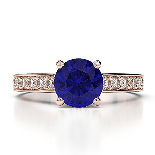 Or Rose 18carats 1CT G-H/VS sertie de diamants Saphir de coupe ronde et bague de fiançailles Agdr-1222