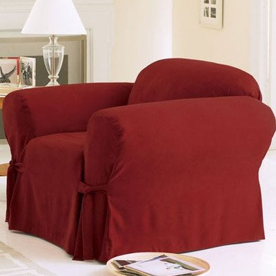 Sure Fit Soft Suede 1-Piece  - Chair Slipcover  - Burgundy (6 Arm Chair Set)