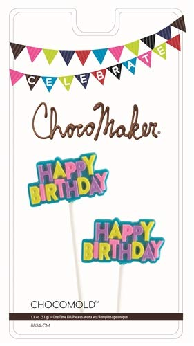 ChocoMaker Celebrate Chocolate Lollipop Mold, Happy Birthday