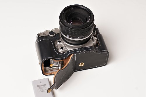 Handmade Genuine real Leather Half Camera Case bag cover for Nikon DF Black Bottom opening Version by TP