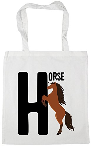 alphabet Shopping 10 HippoWarehouse animal is Tote White for x38cm H 42cm litres Bag Gym horse Beach Fx10wSx