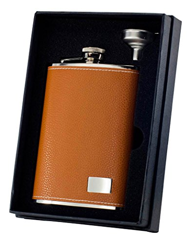 - Visol Holiday Essential II Wrangle Brown Leather Liquor Flask Gift Set, 8 oz, Silver