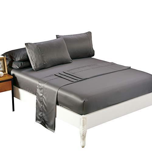 Silk Soft Satin Bed Sheet Set,Anti Slip Satin Sheet Sets,Lux