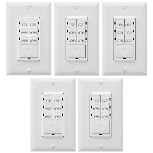 Enerlites Bathroom Timer Countdown Switch, HET06A | In-Wall Electrical Timer for Fans, Electrical Outlets, Indoor and Outdoor lights,with On/Off switch | White - 5 Pack -