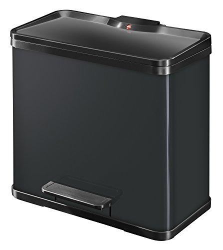 Hailo 0630-260 Öko duo Plus 30 Abfalltrenner 19+11 Liter Stahlblech schwarz
