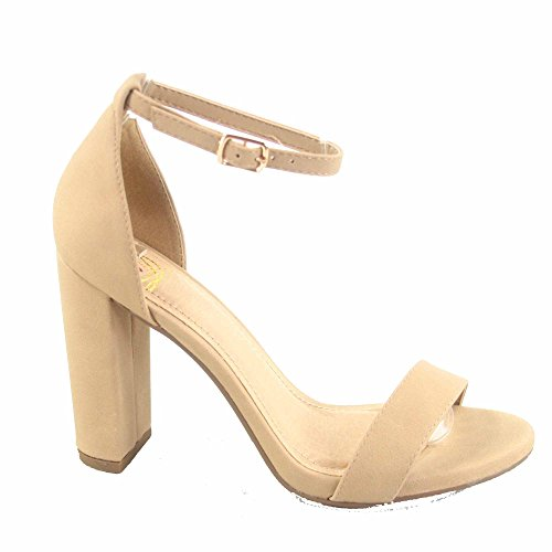 Delicious Shiner-s Womens Fashion Open Toe Ankle Strap Chunky Heels Sandals Shoes Natural SmOLqr