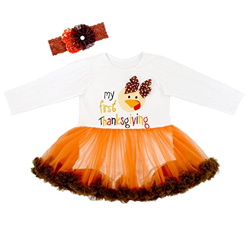 Koupa Baby Girls Outfits My First Thanksgiving Romper Dress & Headband Sets(0-6M,Long Sleeve) (Baby Girl Thanksgiving Outfit)