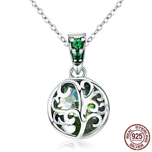 (925 Sterling Silver Green Crystal Tree Of Life Tree Leaves Pendant Necklace For Women Pure Silver Jewelry )