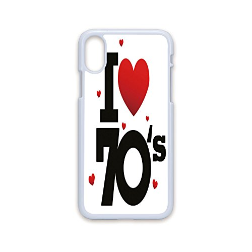 Phone Case Compatible with iPhone X White Edge 2D Print,70s Party Decorations,The Seventies Icon with Big and Little Hearts Vintage Cute Typography Decorative,Red Black,Hard Plastic Phone Case]()