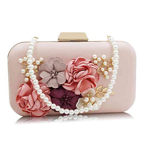 Women's Flower Evening Clutch Pearl Evening Handbag Wedding Clutch Purse (hot pink 1)