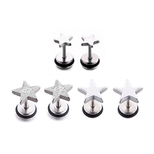 - 3 Pairs Stainless Steel 16G Stud Earrings Star Shape Earring Piercing for Women Men With Screw Back. (3 pair polished 7mm+polished 6mm+matte 9mm)