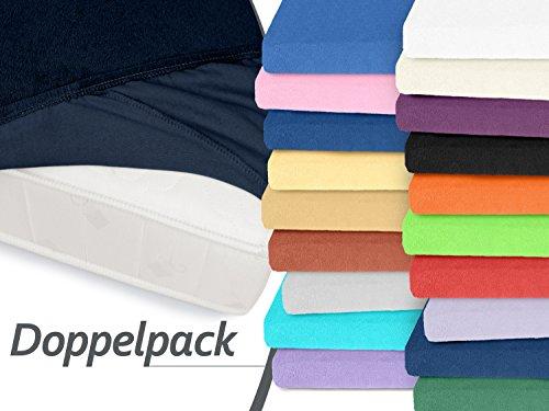 Doppelpack zum Sparpreis - klassische Frottee-Spannbetttücher - Helena - mit einer Steghöhe von ca. 30 cm - für alle handelsüblichen Standardmatratzen - erhältlich in 26 ausgesuchten Farben und 8 verschiedenen Größen, 90-100 x 200 cm, nachtblau