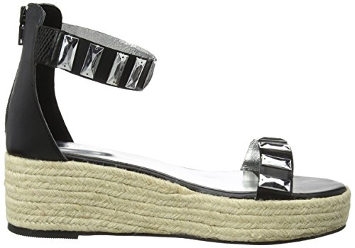TANTRA Leather Espadrille Wedge Sandals with Metallic Details, Sandali Donna nero