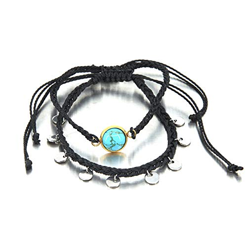 Black Braided Coin Turquoise Anklet Waterproof Boho Anklet Handmade Rope Ankle Bracelet Bead Surfer Beach Foot Jewelry for Women