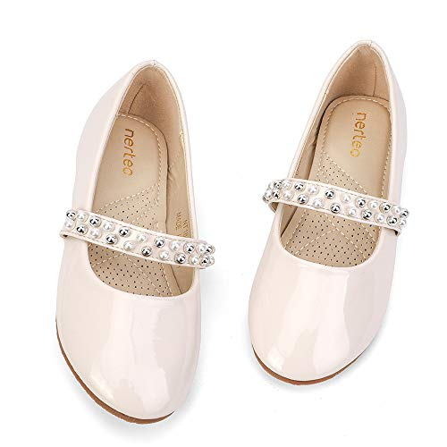 nerteo Girl's Ivory Dress Shoes | Comfort Fashion Leather Mary Jane Princess Shoes Ivory 11 M US Little Kid ()