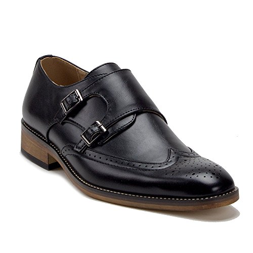 Men's VW153 Wing Tip Brogue Double Monk Strap Dress Loafers Shoes, Black, 7