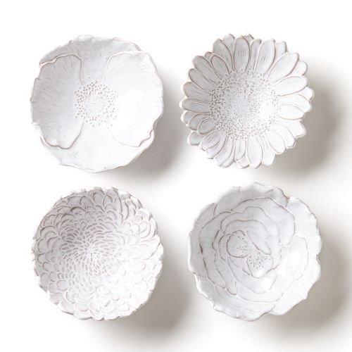 Vietri Bellezza Bloom 4 Assorted White Flower Small Bowls