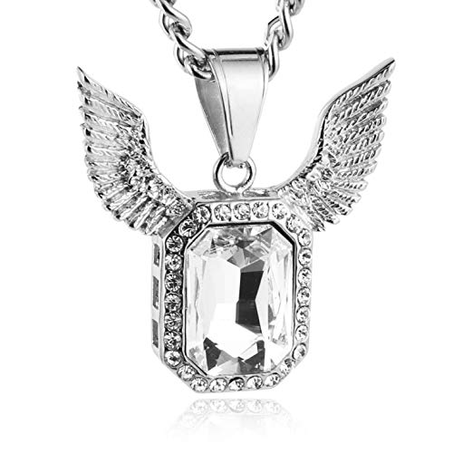 (HZMAN Iced Out Angel Wings Pendant Necklace for Men Women 5mm Cuban Curb Chain Hip Pop Necklace 24 inchs (Silver))