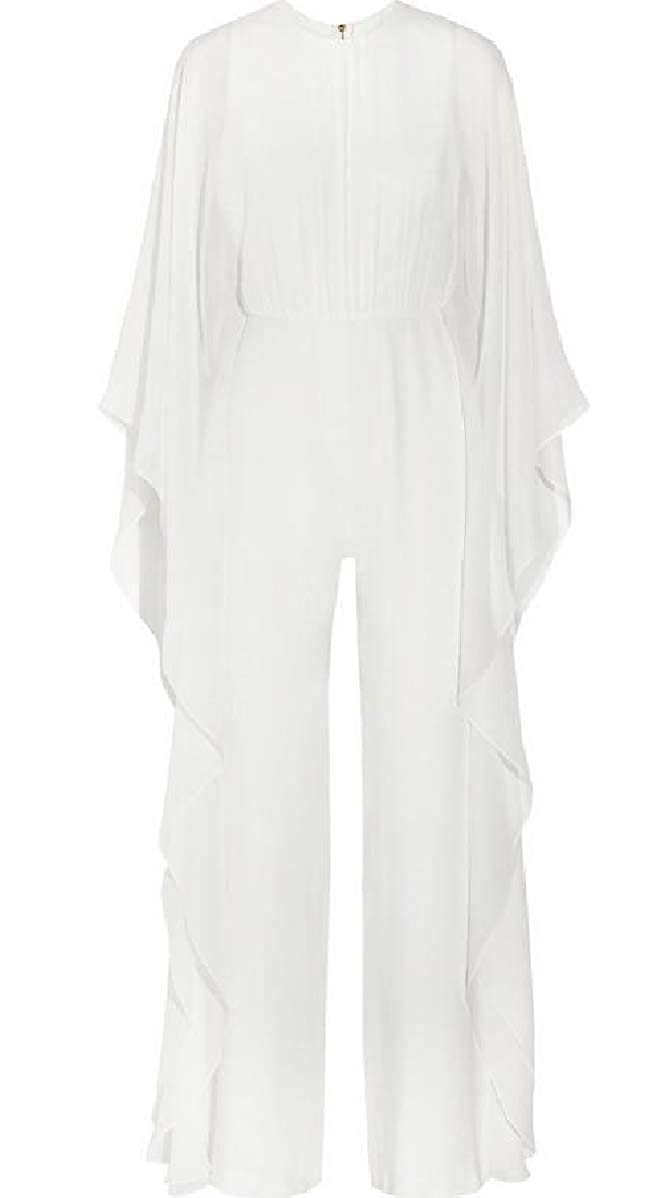 CBTLVSN Womens Jumpsuits Solid Color Ruffles Cape Palazzo Chic Playsuit
