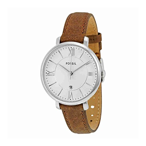 Fossil Women's Jacqueline Quartz Stainless Steel and Leather Casual Watch, Color: Silver-Tone, Brown (Model: ES3708)