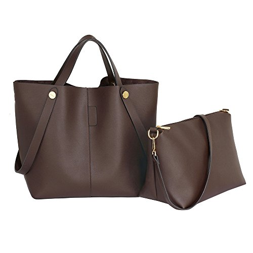 Womens Shopper Bag Ladies Large Shoulder Leather Handbag Set New Designer Purse Coffee