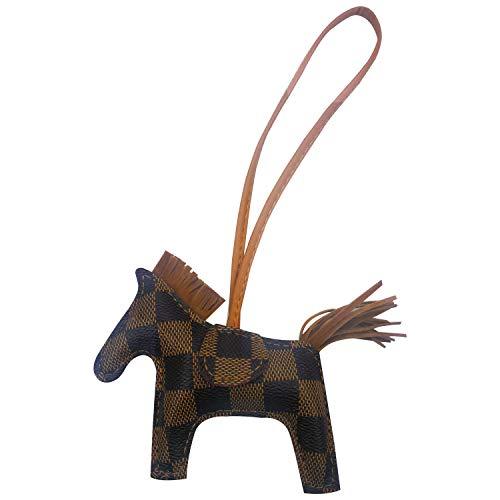 Bag Charm for Women Purse Charm Horse Leather Keychain Handbag Accessories (plaid brown)